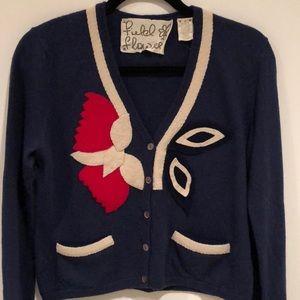 Field flower navy cropped cardigan w felt detail